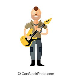 Vector Rock Guitarist. Flat style colorful Cartoon...