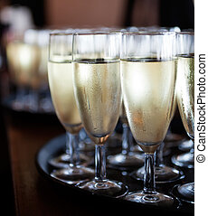 Sparkling wine - Bunch of glasses with sparkling wine