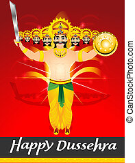 happy dussehra celebration background with Ravan Cartoon...