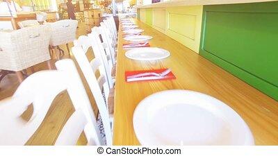 modern restaurant. 4k 30fps - 4k video shooting: Interior of...