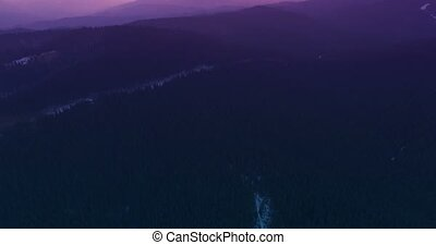 Mountain landscape at sunset 4k 30fps - 4K Aerial Top View...
