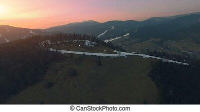Ski resort in mountains. 4k 30fps