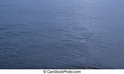 Stone skipping on water surface with ripples - Stone...