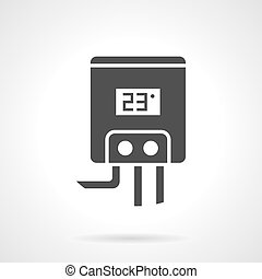 Gas water heater black design vector icon - Gas or electric...