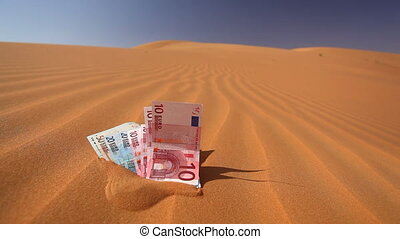 euros in the sand