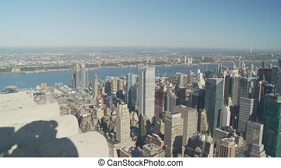pan shot from empire state over upper manhattan part I - pan...