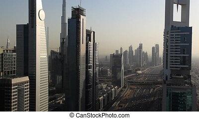 dubai skyscrapers and traffic closer.mov
