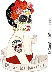 Woman with Dia Los Muertos make-up - Mexican beautiful woman...