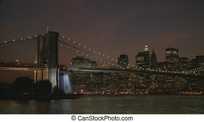 brooklyn bridge by night - brooklyn bridge, manhattan, east...