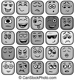 Set of colorful emoticons, square emoji flat. Vector...