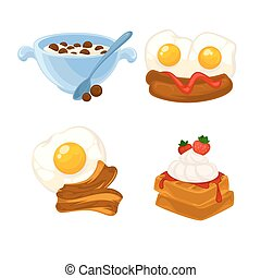 Vector breakfast food set. Icons of healthy food orange...
