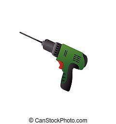 Large construction screwdriver on a white background. Vector...