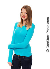 Young woman with toothy smile - Happy teen woman with toothy...