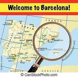 Welcome to Barcelona Attractions on map Vector, eps10
