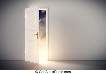 Sun shining through half open classic white door. Concepts...
