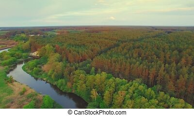 River panorama. 180 degree Turn right. 4k 30fps - Aerial...