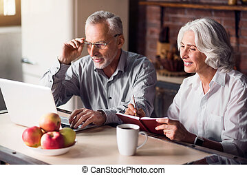 Mature couple doing internet research - Working mood Senior...