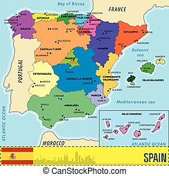 Detailed vector map of Spain with all regions and with...