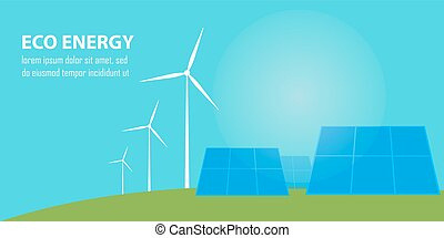 Eco energy banner. Sun and wind power generation