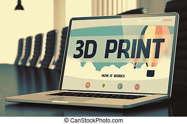 3D Print on Laptop in Conference Room. - Modern Conference...
