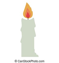 Isolated white candle design - White Candle icon Fire flame...