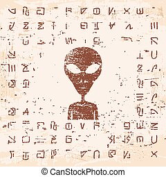 Alien hieroglyphics carved in stone. - Vector illustration...
