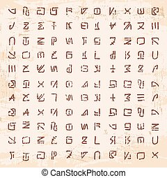 Alien hieroglyphics carved in stone. - Stock Vector Alien...