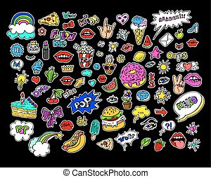 Fashion modern doodle cartoon patch badges or stikers with...