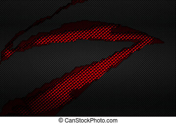 black and red carbon fiber tear on the red metallic mesh.