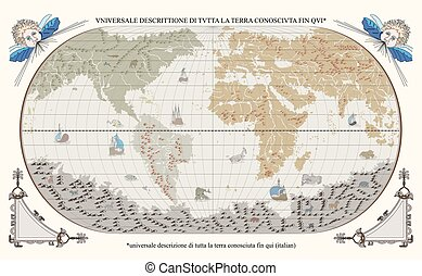 Old globe with monsters and ships - Vector of old globe with...