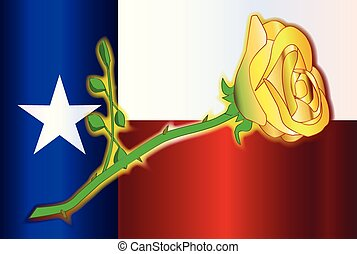 Texas Yellow Rose - A cartoon style yellow rose set on a...