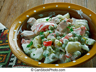 Latvian salad - Latvian peasant salad - close up
