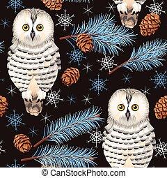 Seamless polar owl - Polar owl and spruce vector seamless...