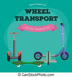 Set of one-wheeled and two-wheeled Self-balancing electric scooter vector illustrations