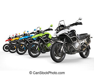 Colorful row of modern sporty bikes