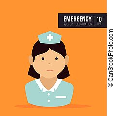 avatar woman nurse medical assitance cartoon. vector...