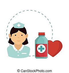 avatar woman nurse medical assitance with red heart and...