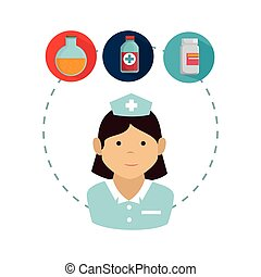avatar woman nurse medical assitance with medicine icons...