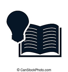 education book opened - open book education object with bulb...