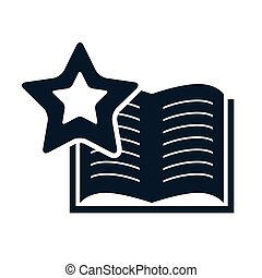 education book opened - open book education object with star...