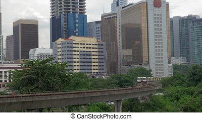 Train riding through Kuala Lumpur, Malaysia - Overground...