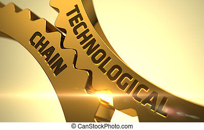 Technological Chain Concept. Golden Metallic Cog Gears. 3D....