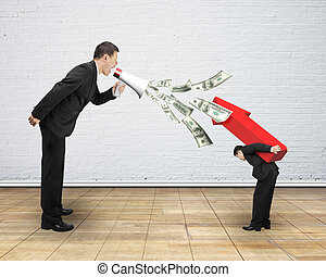 Man using megaphone spraying out dollar bills yelling at...