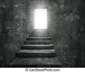 Open door with bright light and old dirty concrete stairs -...
