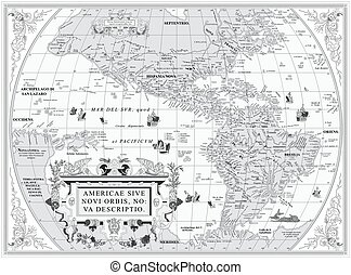Old map of South and North America