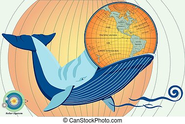 Whale eat globe in vector, eps10.