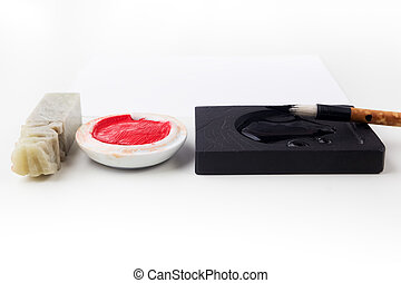 Asian traditional brush pen and ink for calligraphy on white...