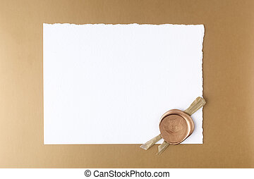 Letter wth wax seal on golden background. Flat lay. Top view...