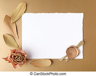 Letter with wax seal and dry roses on golden background....