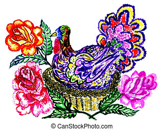 Painted Turkey Bird - Cute cartoon thanksgiving turkey bird,...